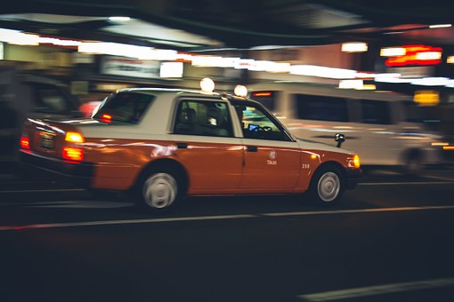 Fast, Taxi, Cab, Kyoto, Japan, Moving