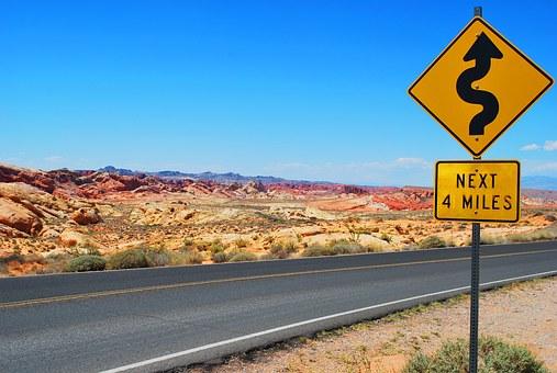 Road Sign, Road Trip, Desert Landscape