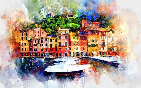 Home, Watercolor, Colorful, Houses